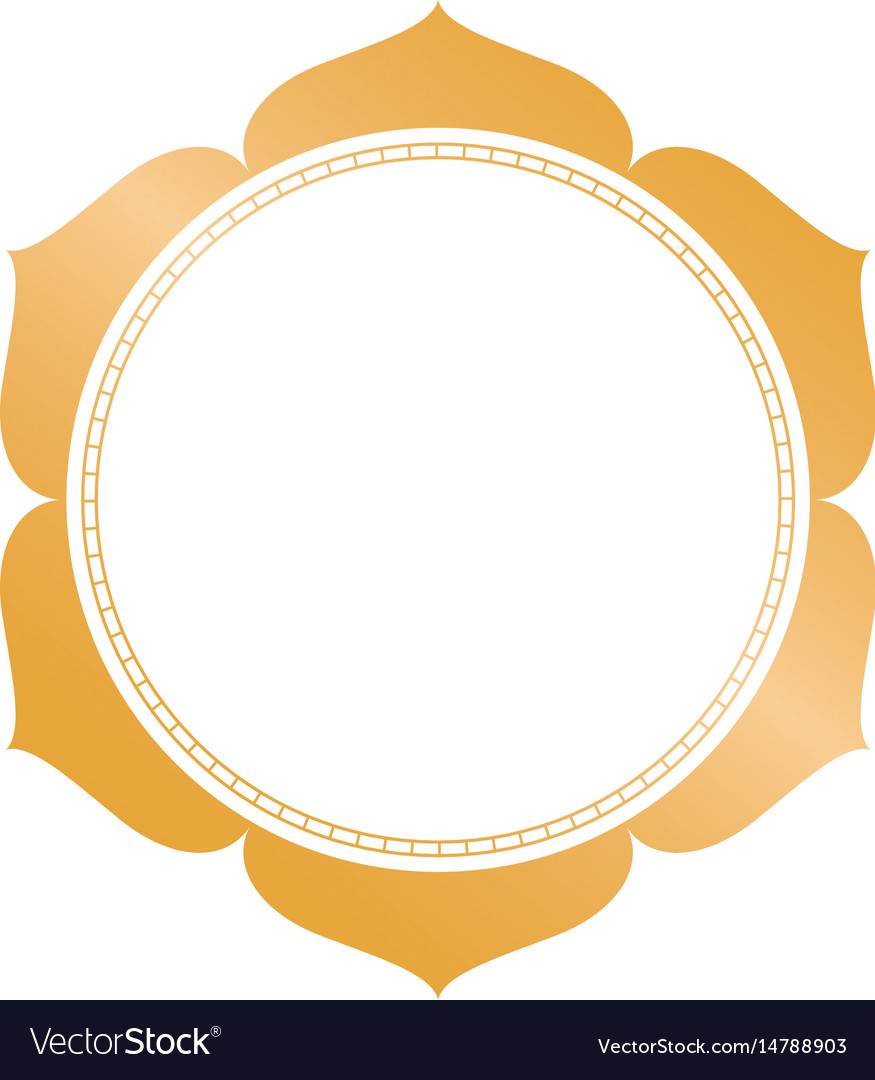 Golden circle frame with decorative leaves vector image