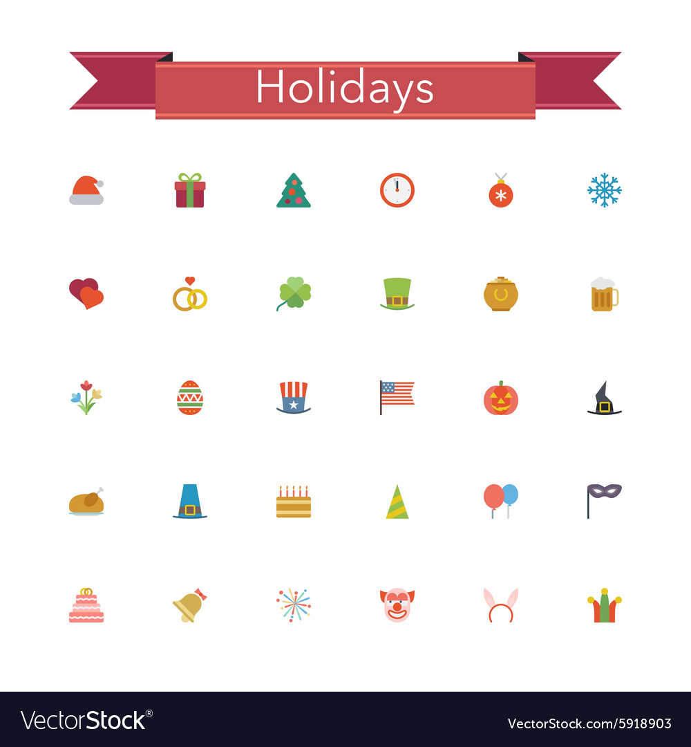 Holidays Flat Icons vector image