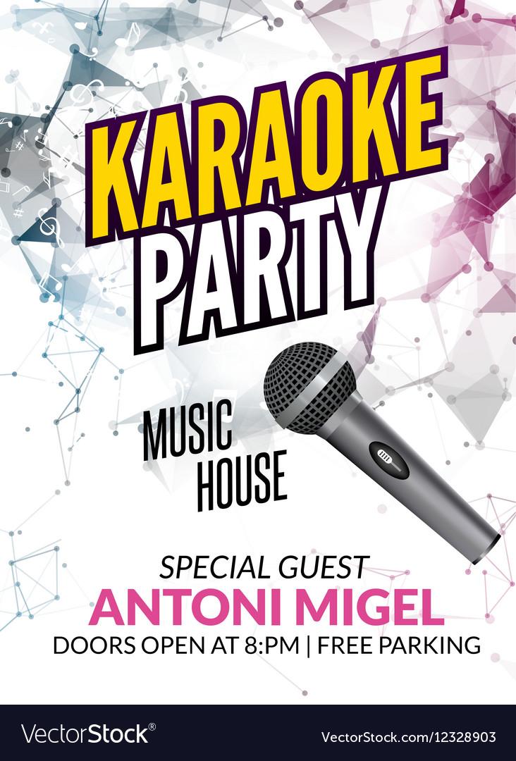 Karaoke party invitation poster design template Vector Image