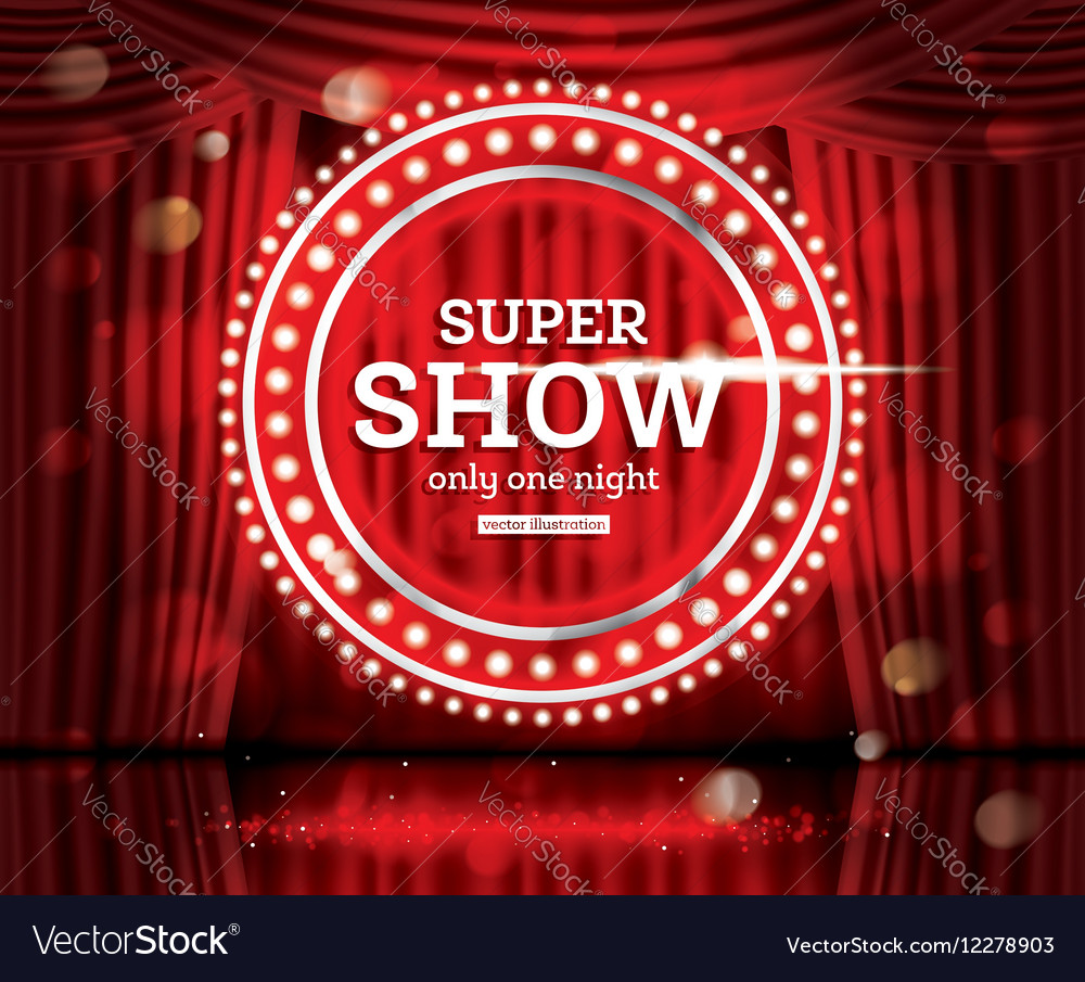 Super Show Open Red Curtains Royalty Free Vector Image