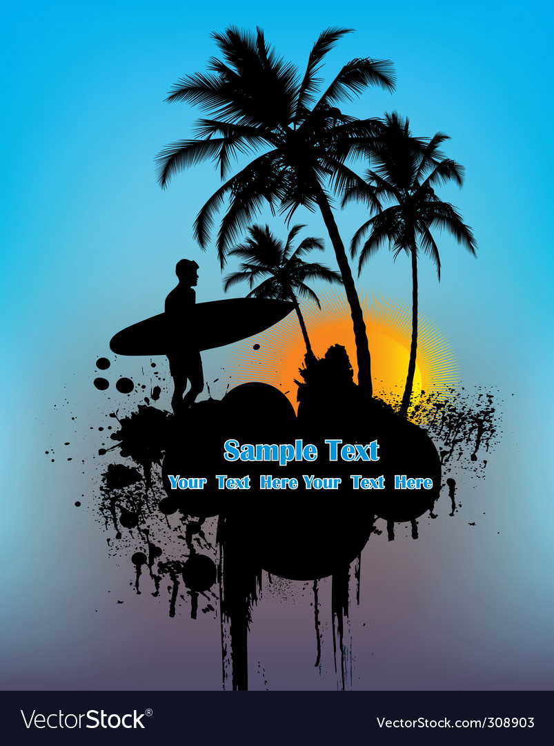 Surfer on sunset vector image
