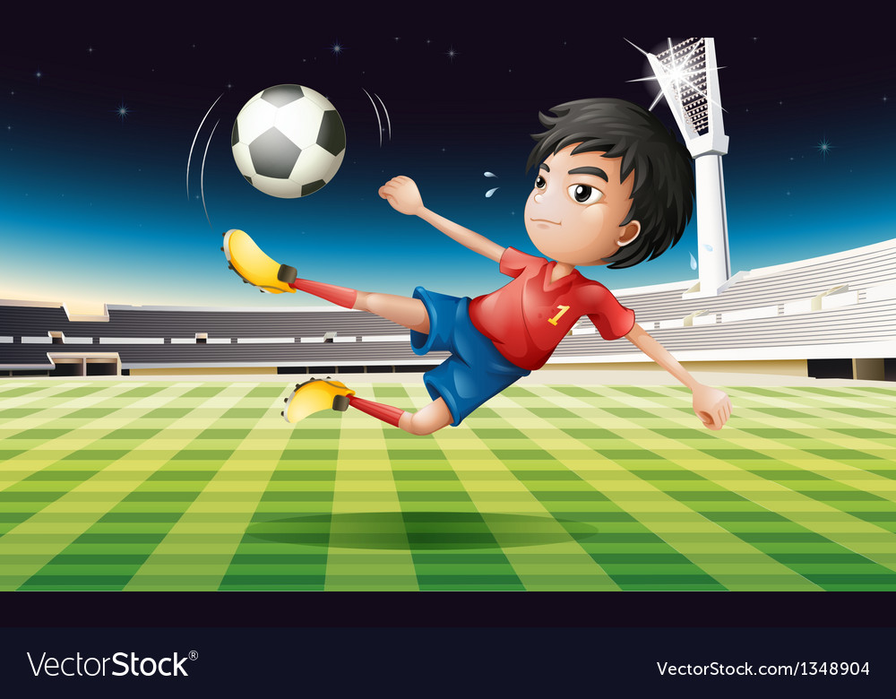 A young football player with a red uniform vector image