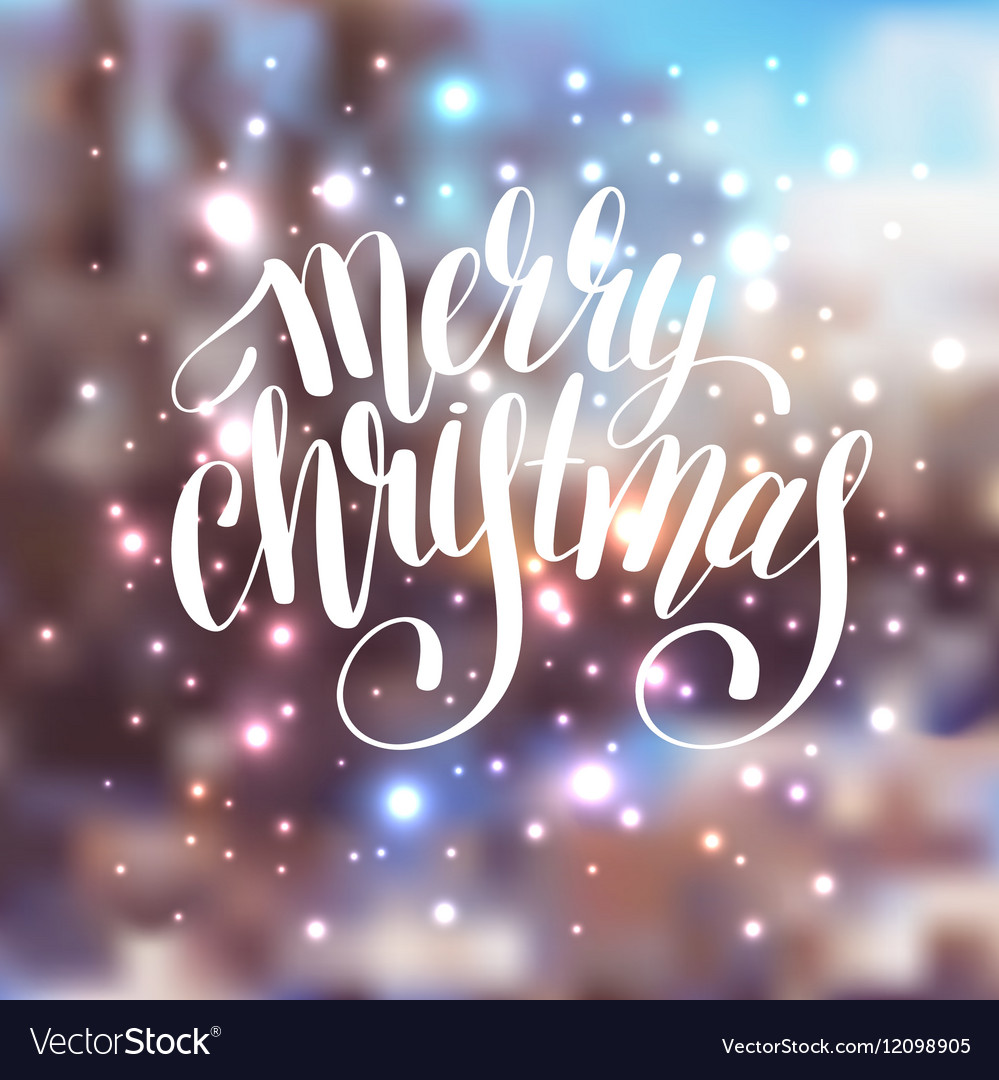 Hand lettering written merry christmas holiday vector image