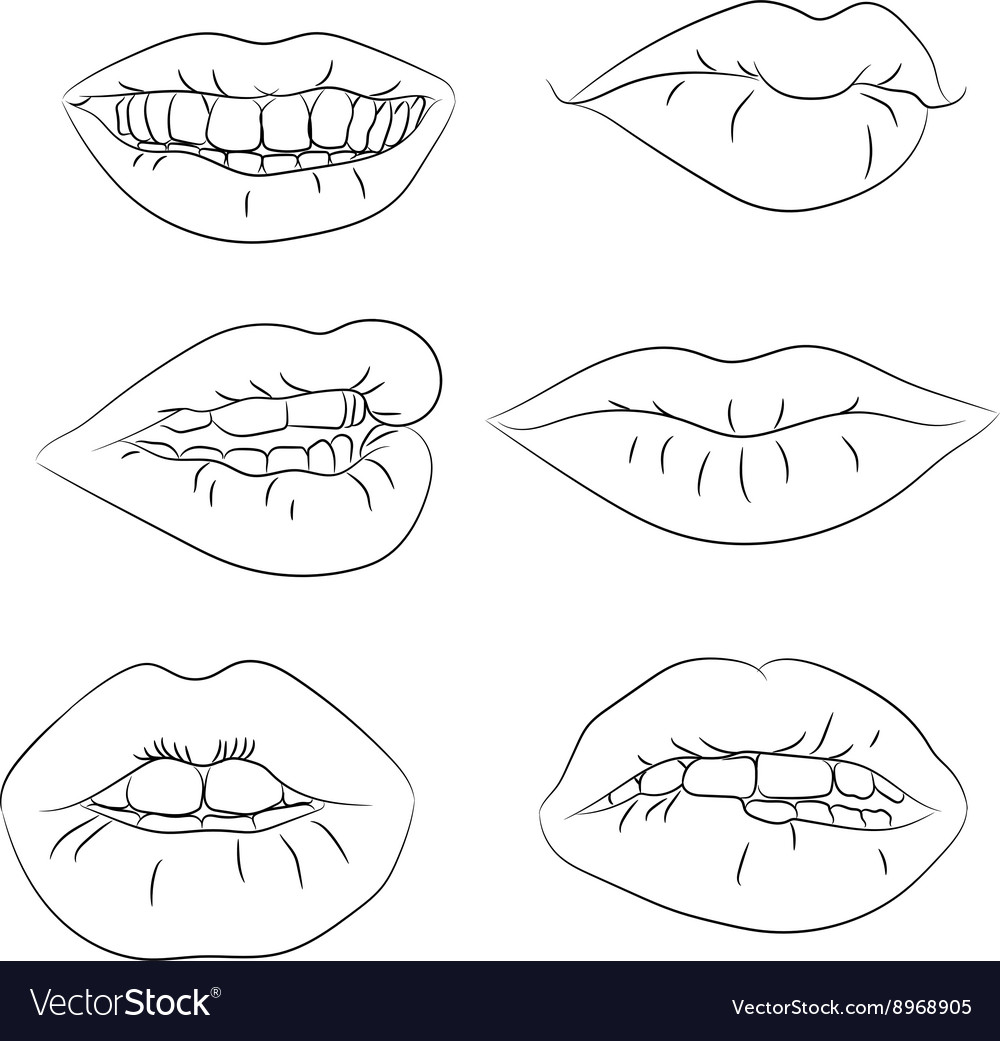 Set contour of the lips with different emotions vector image