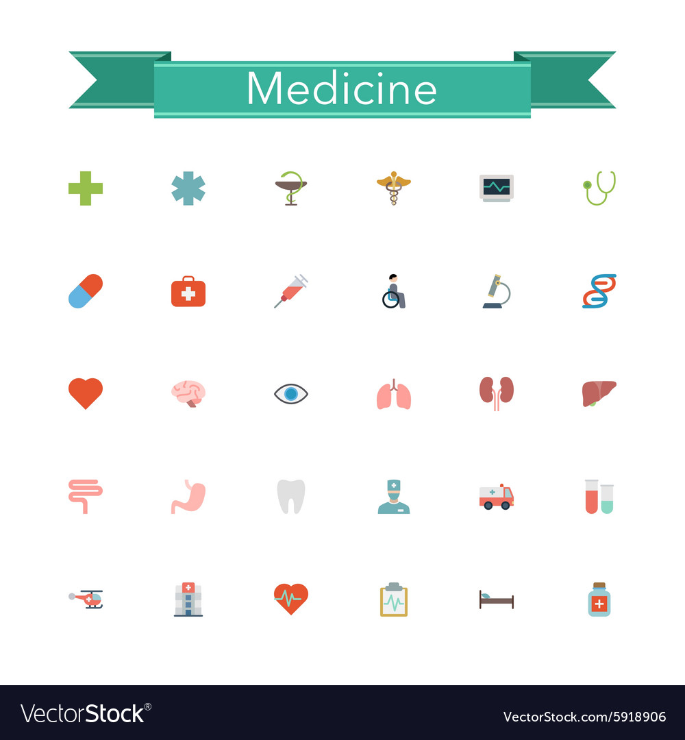 Medicine Flat Icons vector image