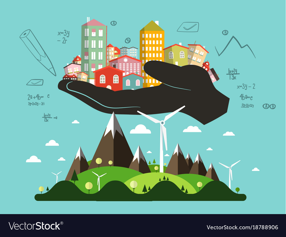 Abstract landscape with architect hand full of vector image