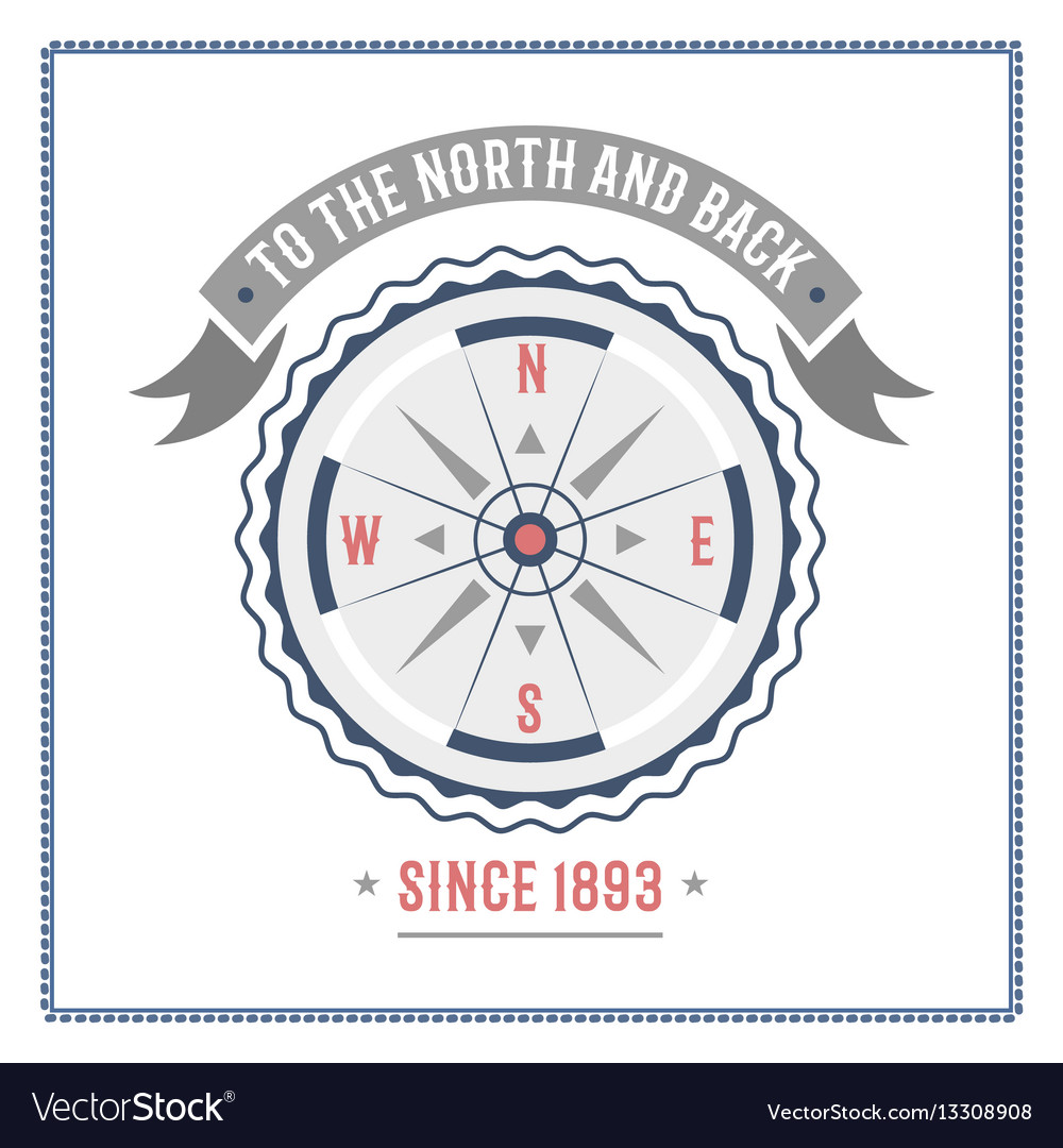 Compass nautical and marine sailing themed label vector image