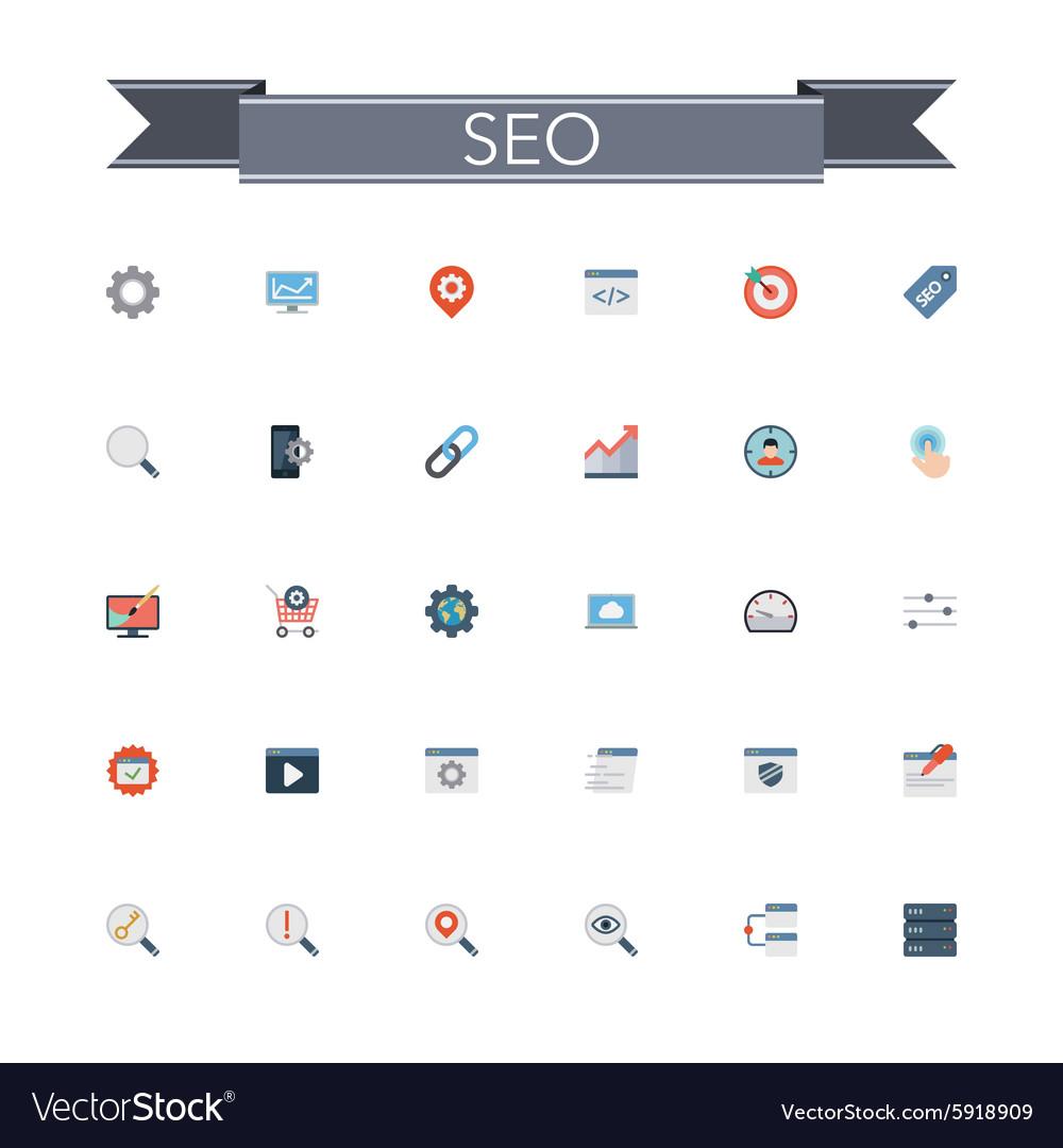 SEO Flat Icons vector image