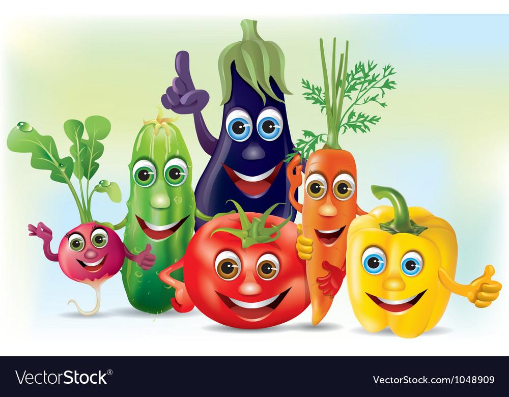 Cartoon company vegetables vector image