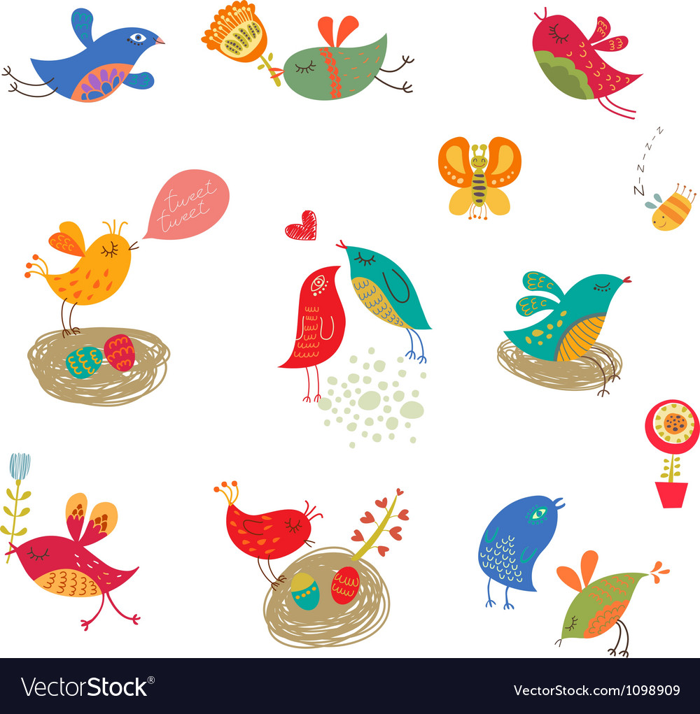 Cute birds set vector image