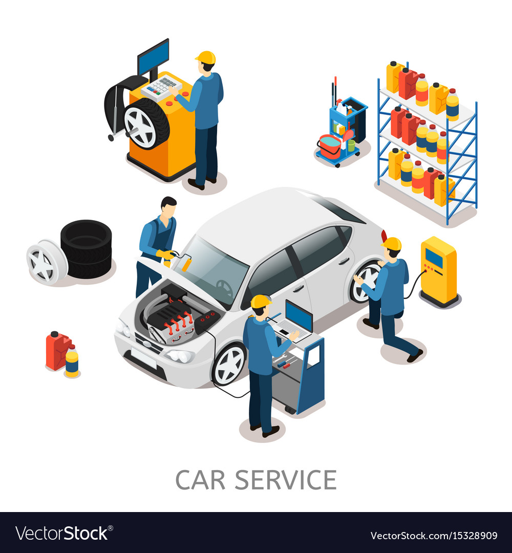 Isometric car repair center concept vector image