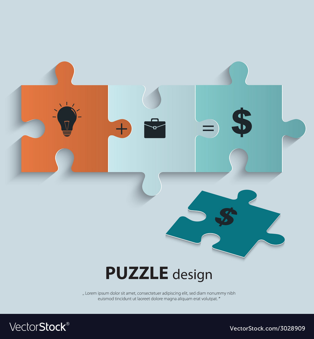 Piece of jigsaw puzzle showing business equation vector image