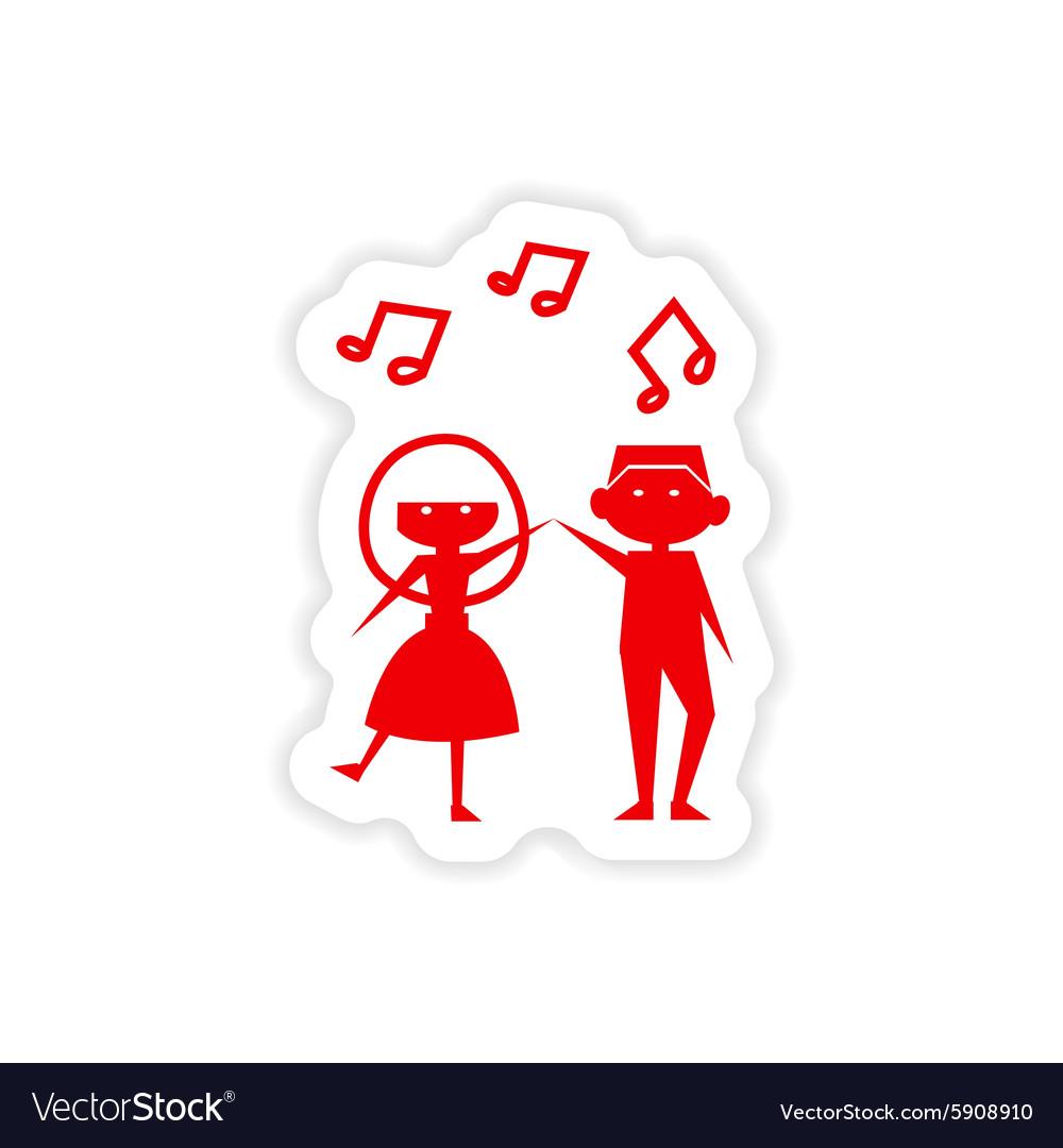 Icon sticker realistic design on paper couple