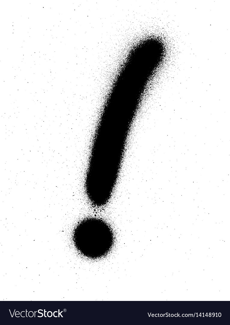 Graffiti exclamation mark in black over white vector image