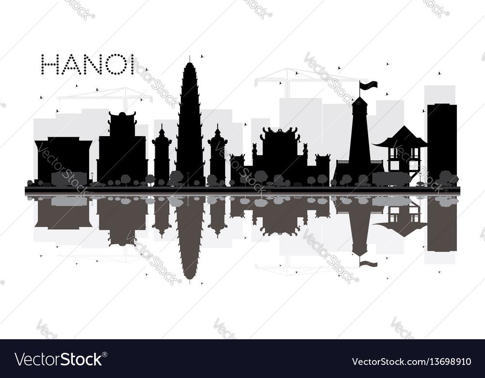 Hanoi city skyline black and white silhouette vector image