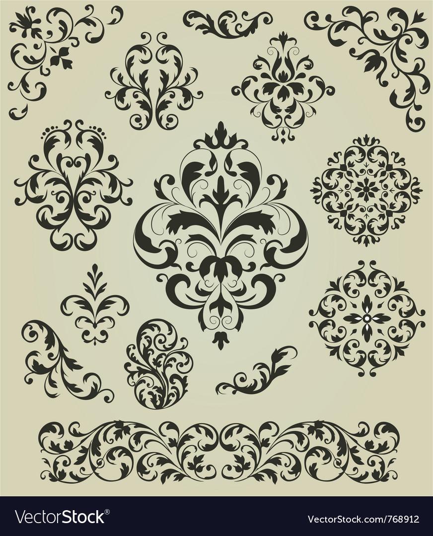 Ornaments set vector image
