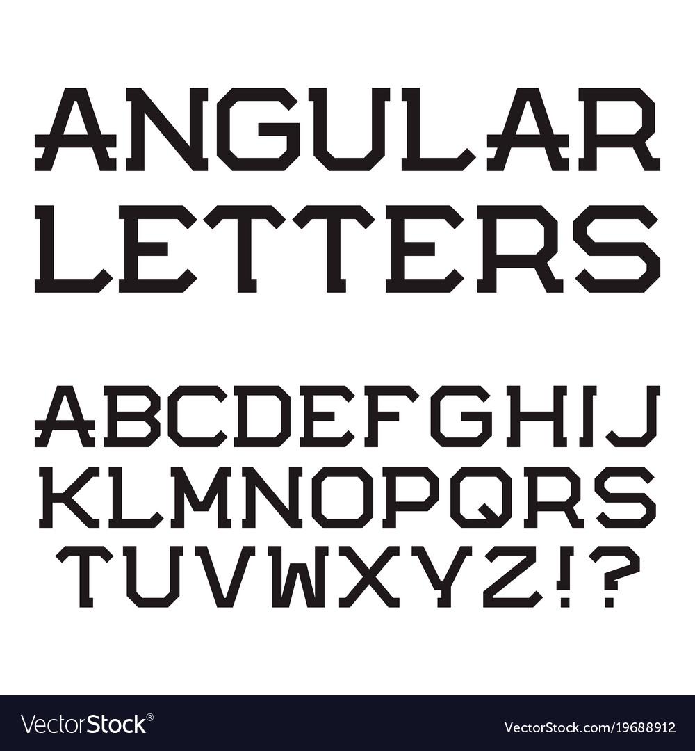 Black angular capital letters stylish font vector image buycottarizona Gallery