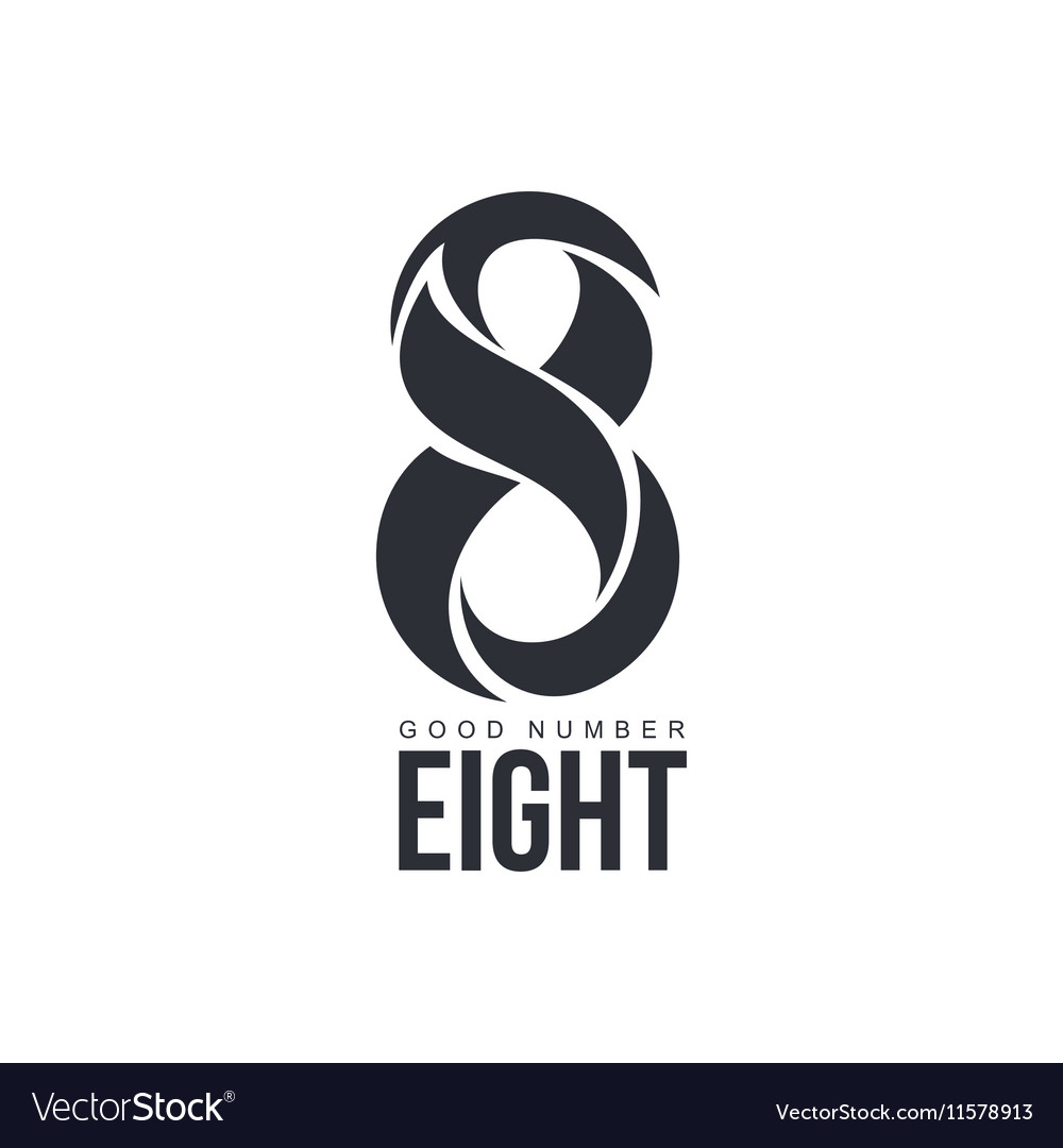 Black and white number eight logo made of abstract vector image