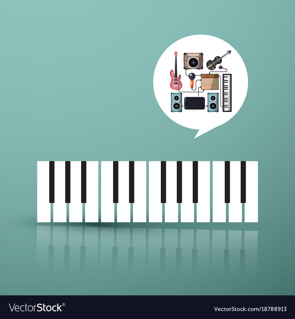 Music symbol piano keyboard with instruments in vector image
