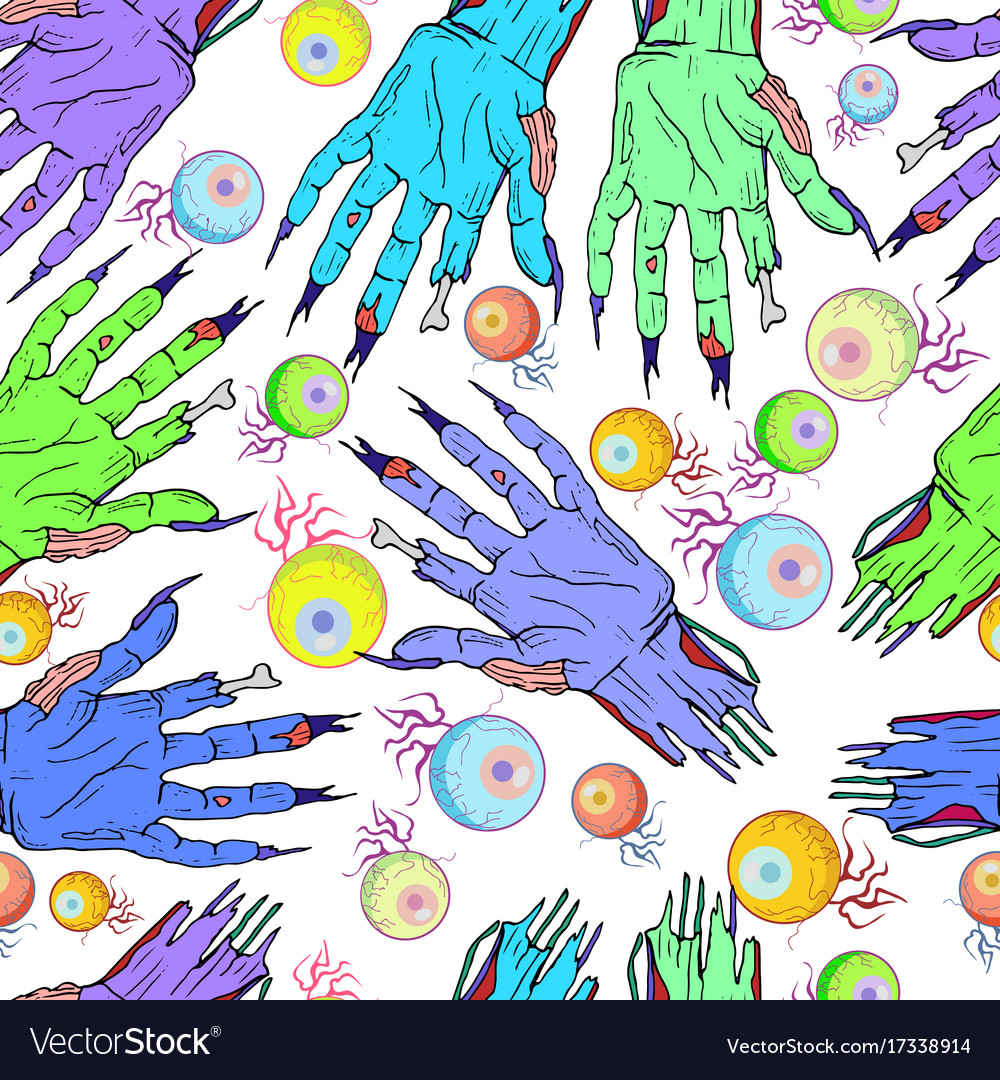 Seamless zombie hand eye pattern halloween vector image