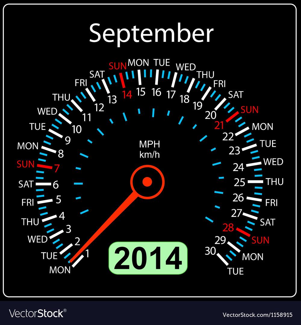 2014 year calendar speedometer car in September vector image