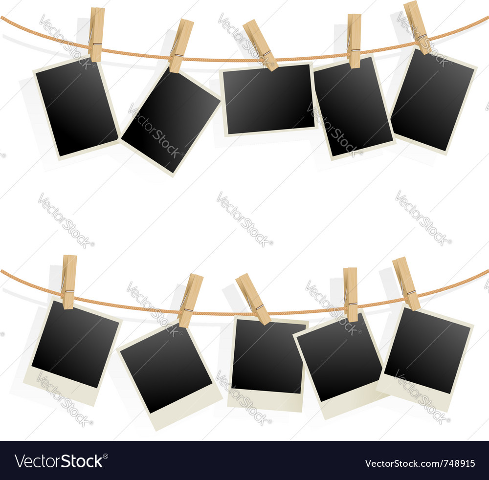 Photo frames on rope vector image