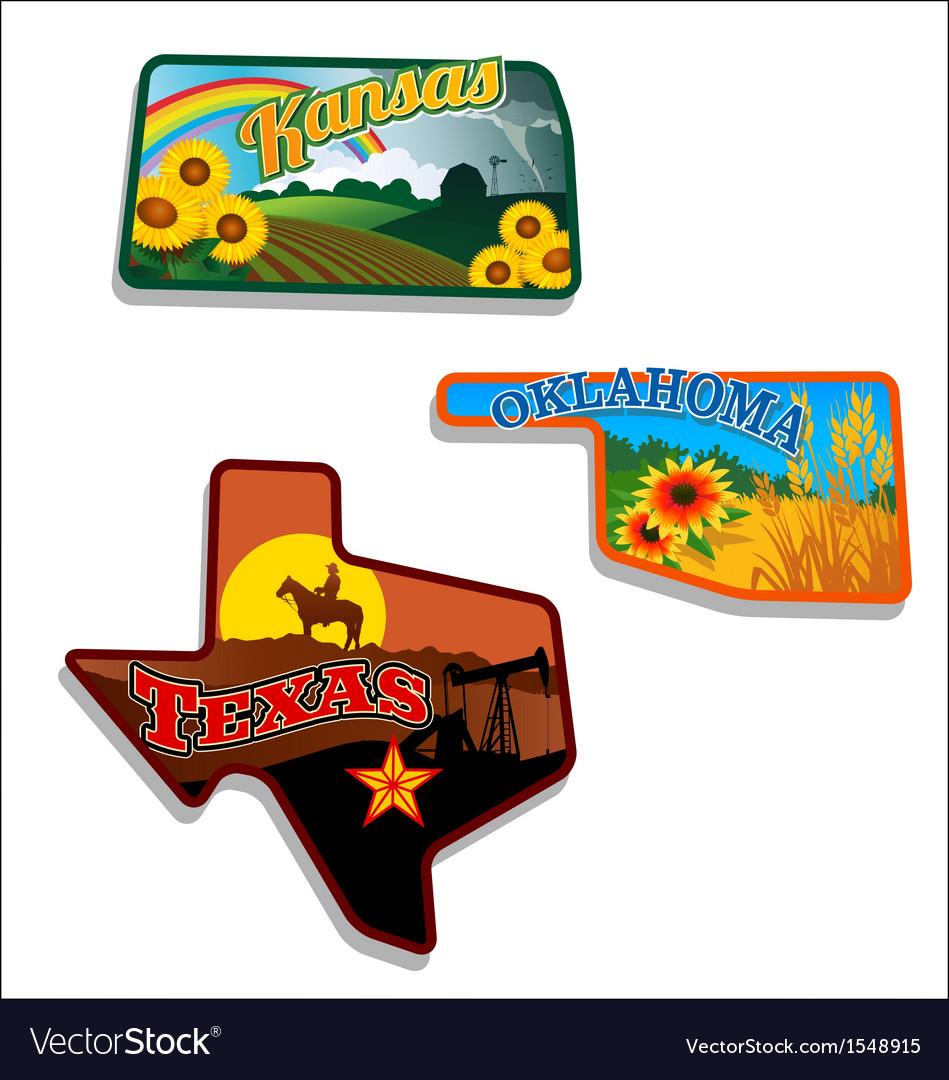 Retro of Kansas Oklahoma Texas vector image