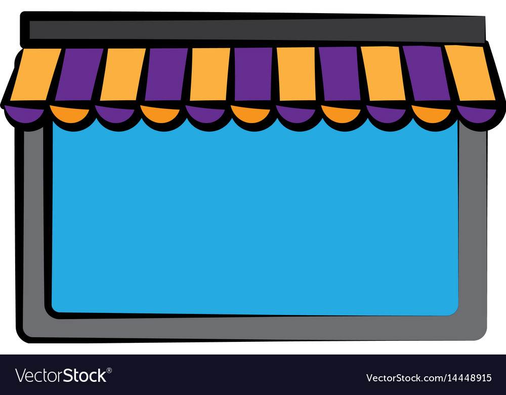 Window with striped awning icon vector image