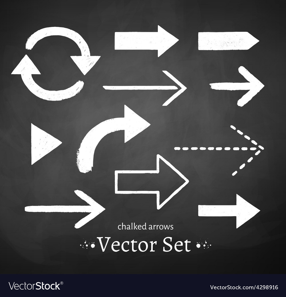 Chalked arrows set vector image