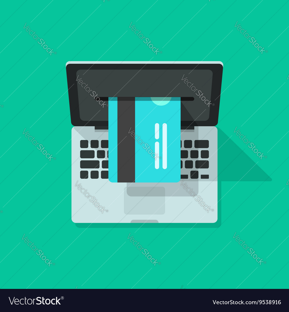 Laptop credit card processing concept of vector image