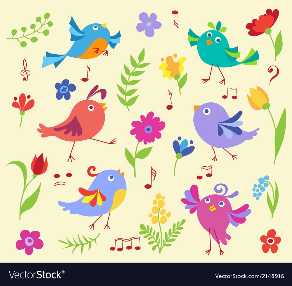 Set of cute spring musical birds vector image
