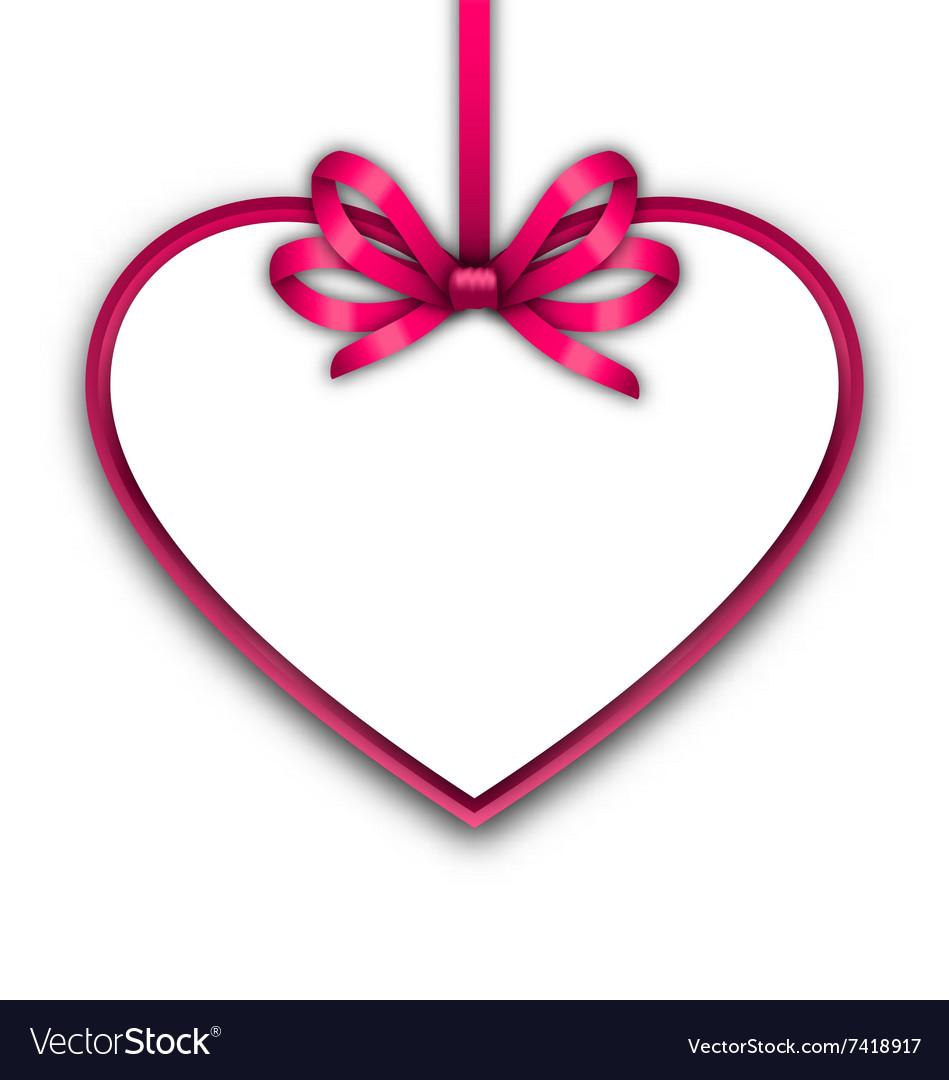 border shape form heart from ribbon valentine day vector image - Valentine Ribbon
