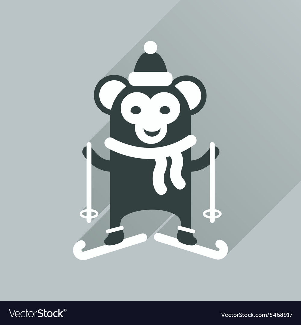 Flat Design Monkey Face Icon