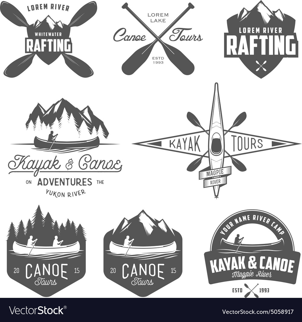 Set of kayak and canoe design elements vector image