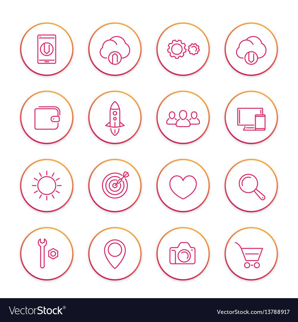 Thin line web icons set basic interface elements vector image