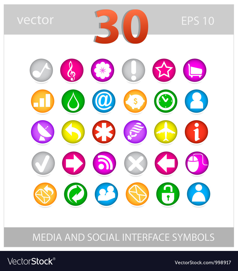 Web colored media and social sign set vector image