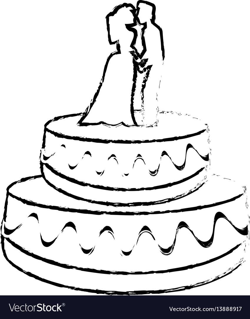 Wedding cake couple dessert sketch royalty free vector image wedding cake couple dessert sketch vector image sciox Image collections
