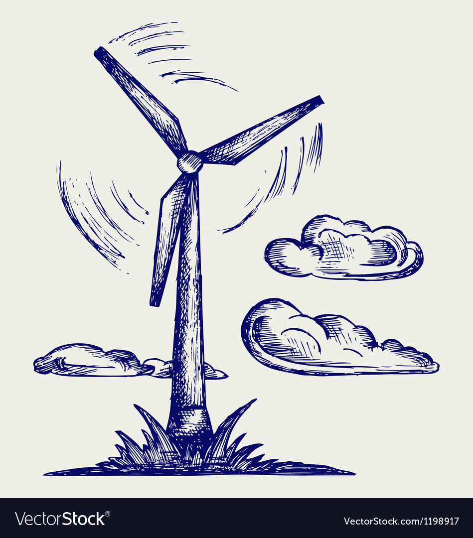 Windmill and clouds vector image