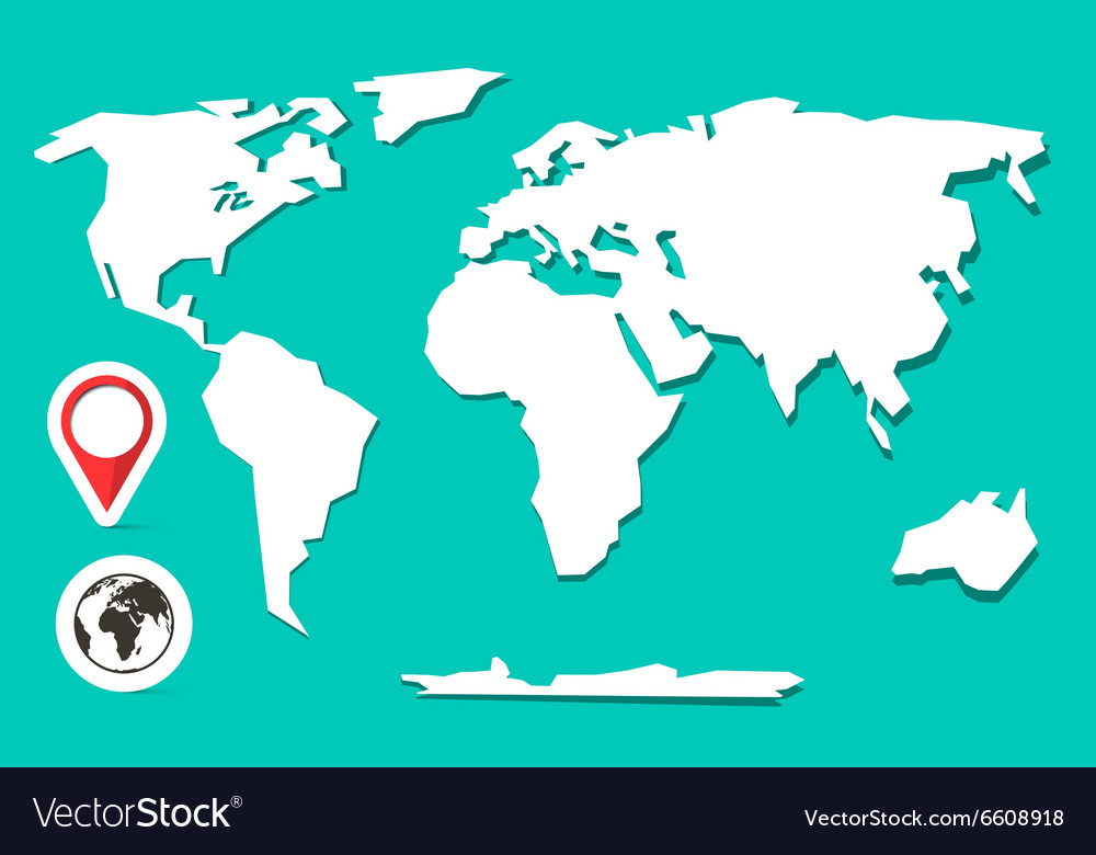 Retro Paper World Map with Globe and Label vector image