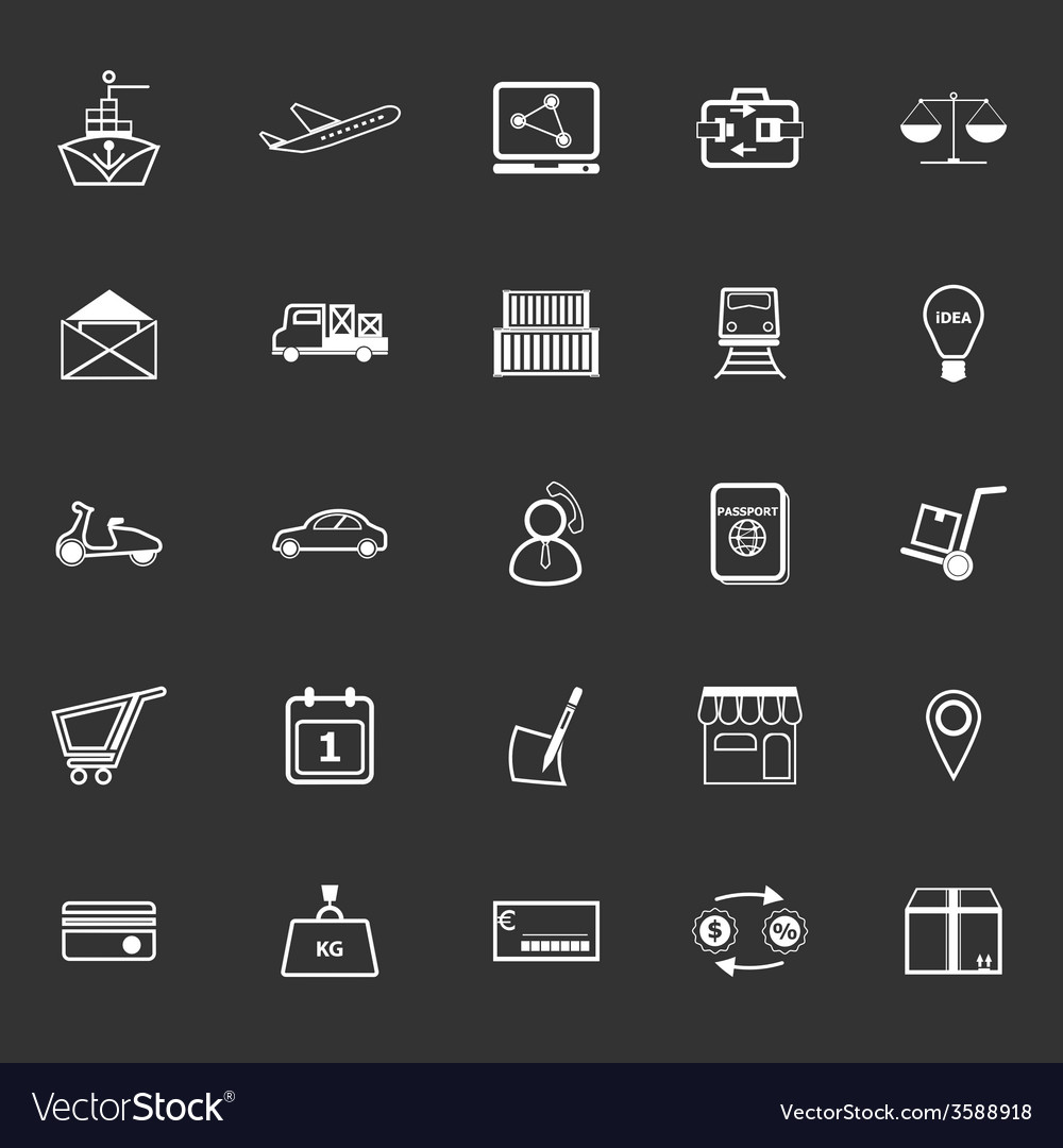 International business line icons on gray vector image