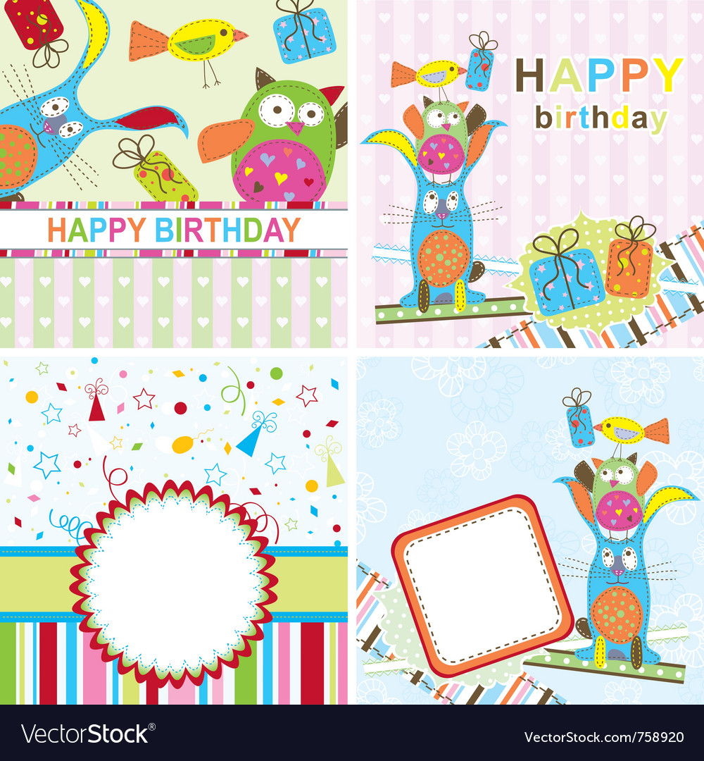 Template birthday greeting card Royalty Free Vector Image – Free Template Birthday Card