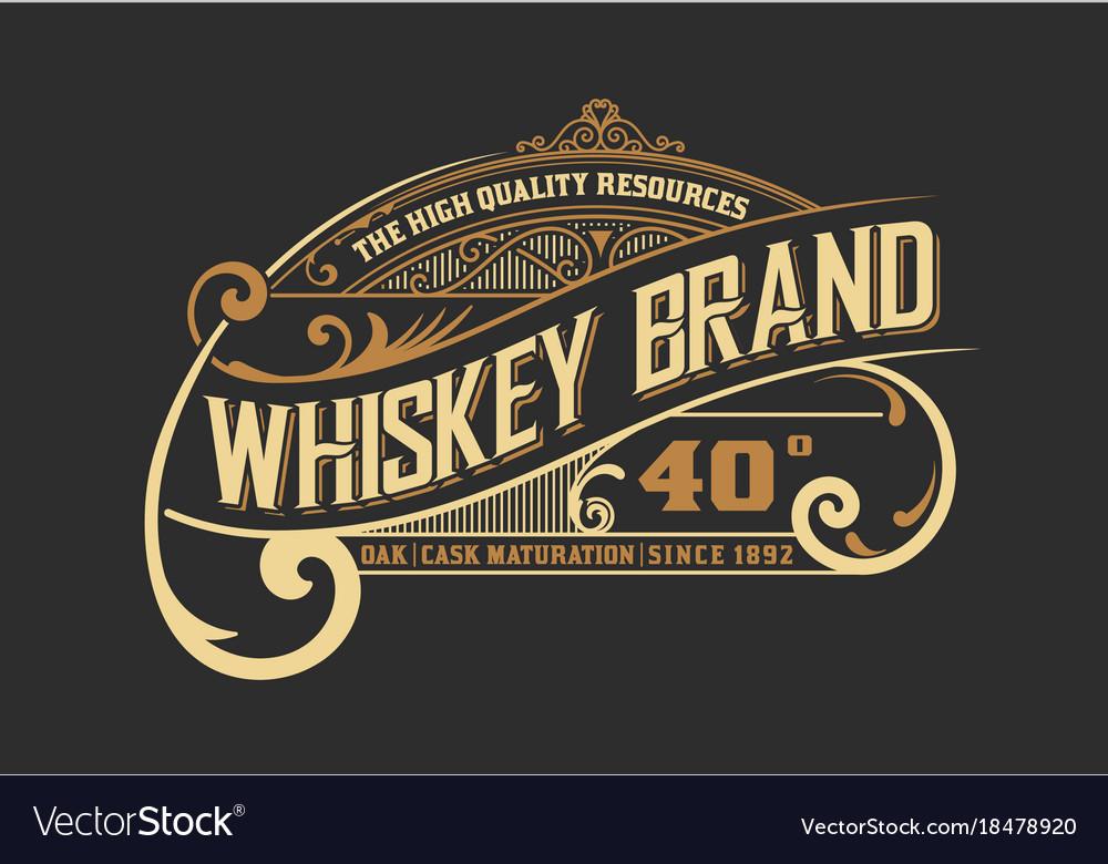 Vintage old design whiskey label style vector image