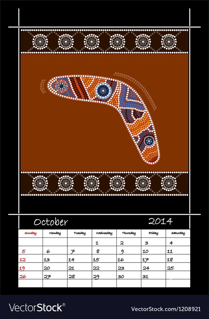 October 2014 - boomerang vector image