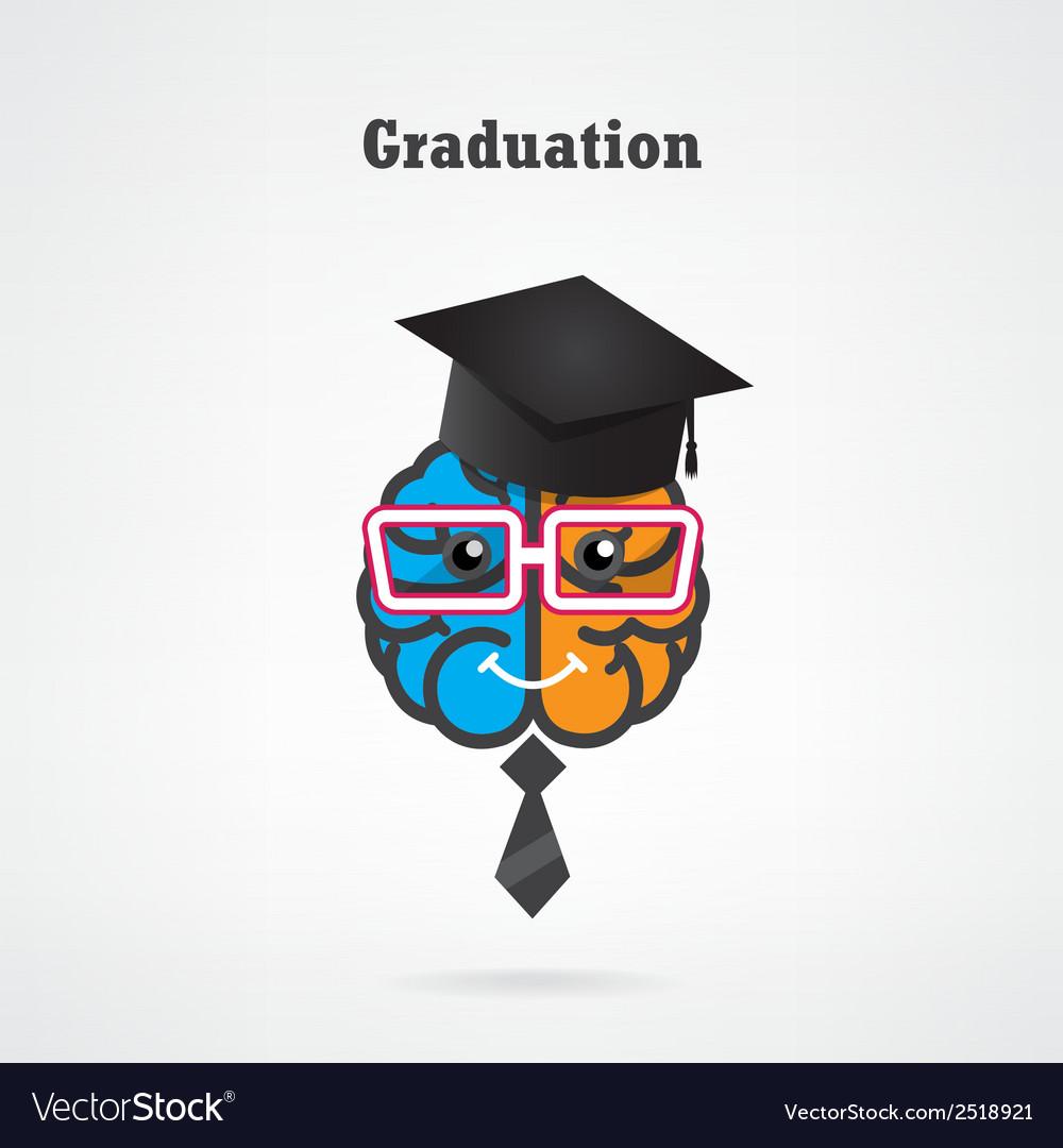 Creative brain graduation concept vector image