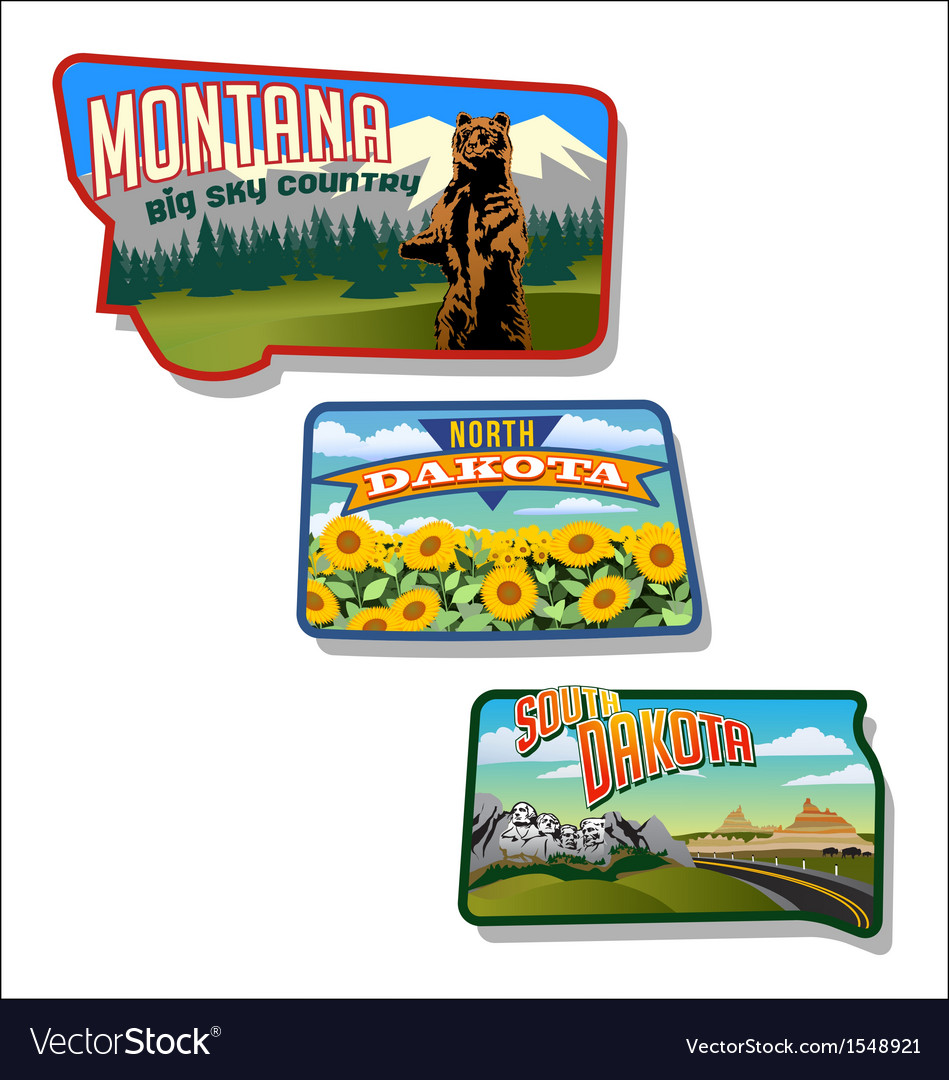 Retro of Montana and Dakotas vector image