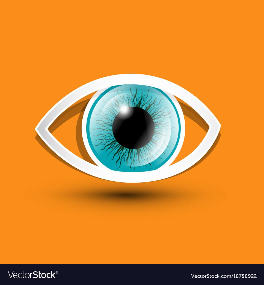 Eye symbol on orange background vector image