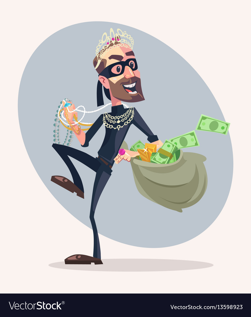 Robber man character stole money and jewelry vector image