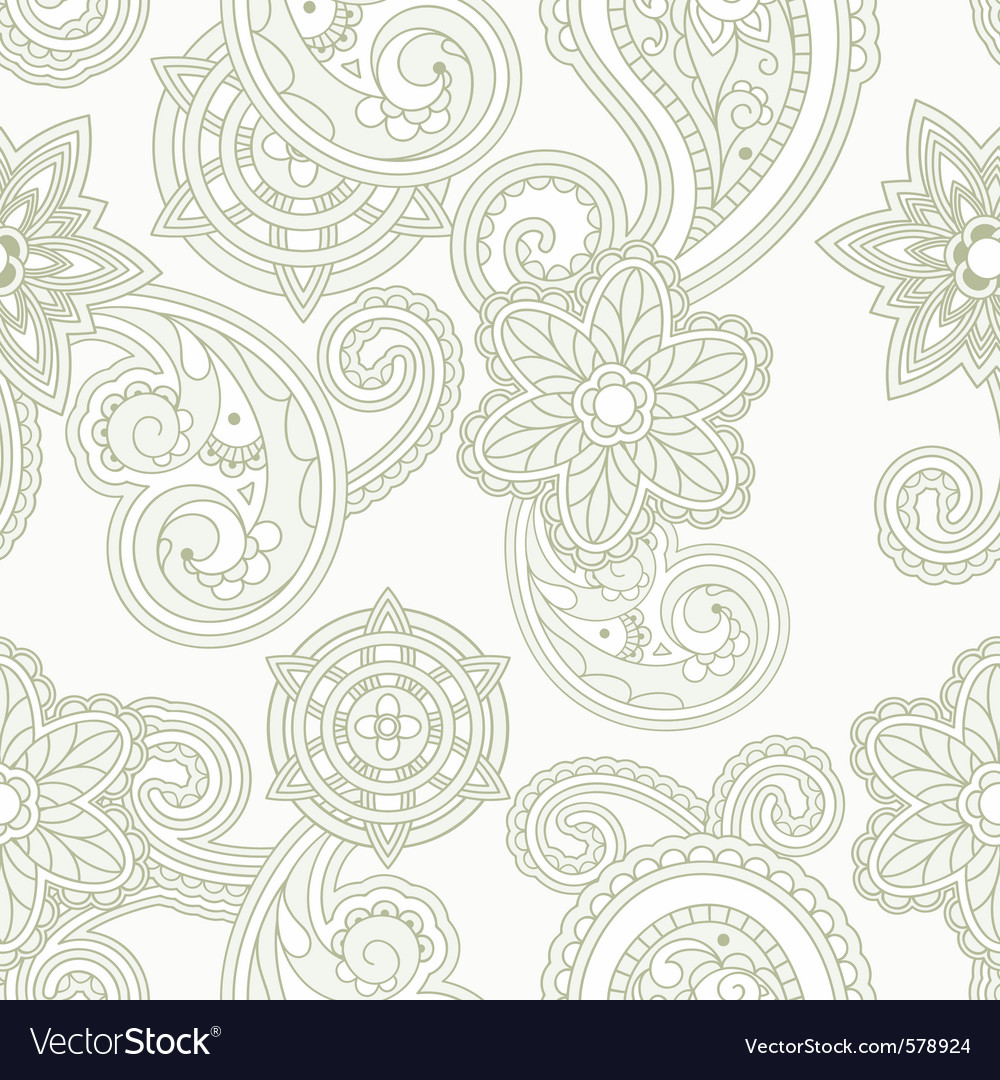 Seamless paisley background vector image