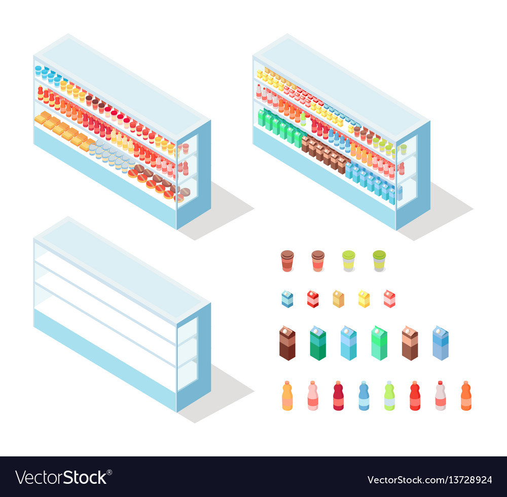 Milky food in groceries showcase isometric vector image