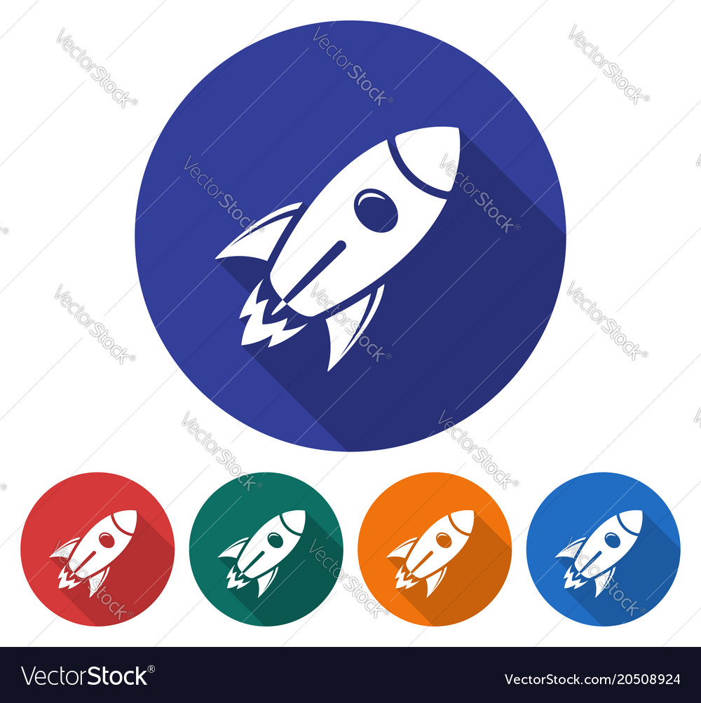 Round icon of space rocket flat style with long vector image